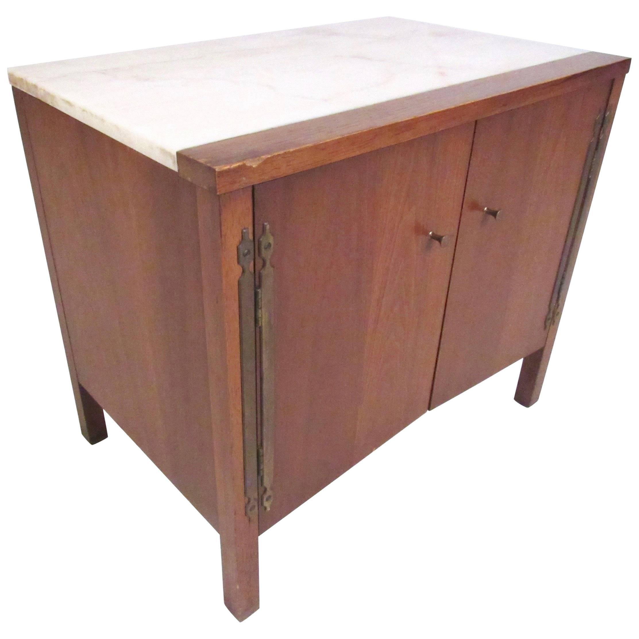 Vintage Modern Marble-Top End Table by Drexel