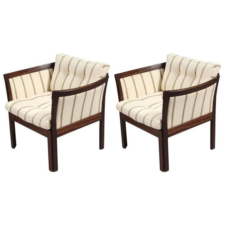 1960s Illum Vikkelso Danish Plexus Easy Chairs in Mahogany and White Fabric