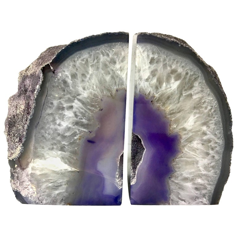 Pair of Vintage Geode Bookends For Sale