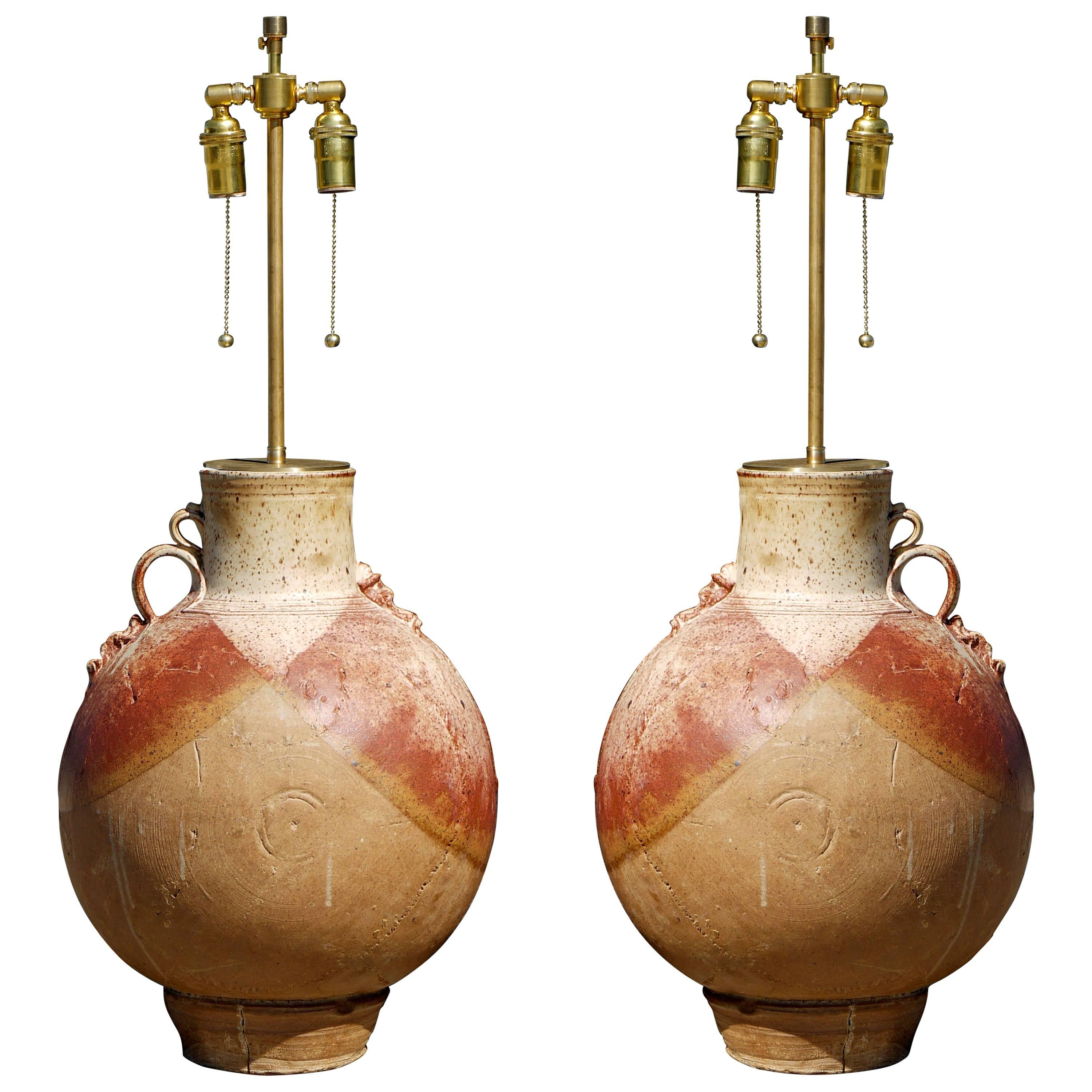 Vintage Pair Of Large Cocoon Jar Form Studio Pottery Lamps