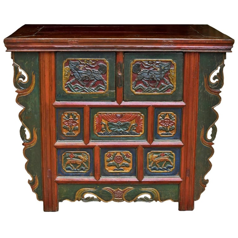19th Century Tibetan Deep Chest, Hand-Carved, Hand-Painted