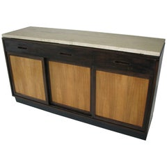 Ed Wormley for Dunbar Credenza with Italian Travertine Top