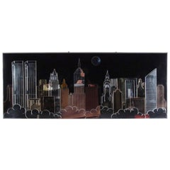 Vintage Modern New York Skyline Mirrored Wall Art
