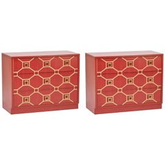 Pair of Dorothy Draper Viennese Lacquered Chests