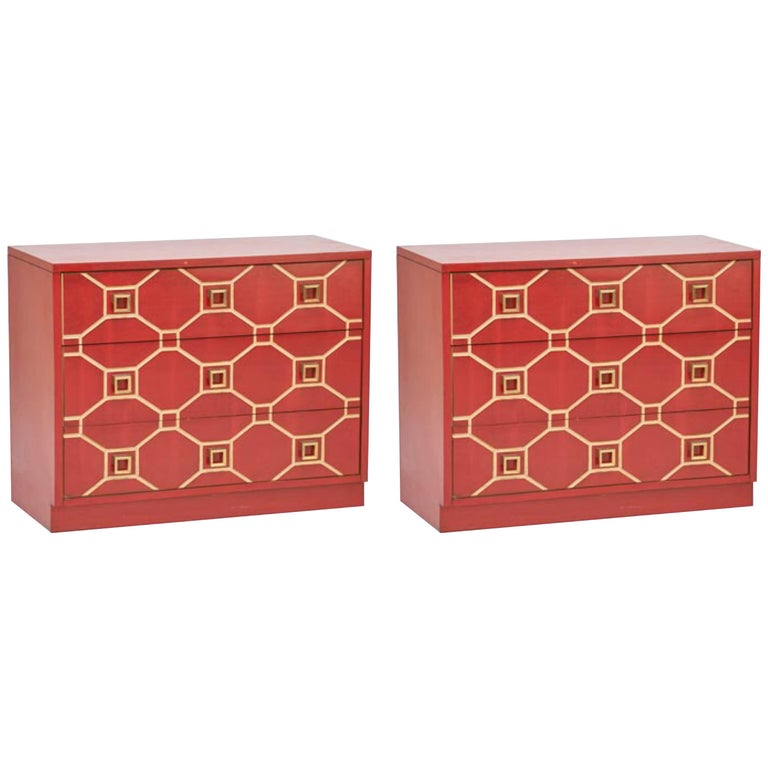 Pair of Dorothy Draper Viennese Lacquered Chests For Sale