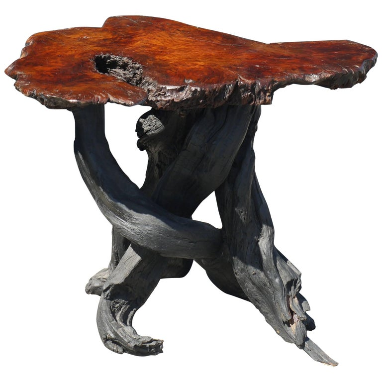 Vintage Japanese Burl Top Table with Shou Sugi Ban Driftwood Base For Sale