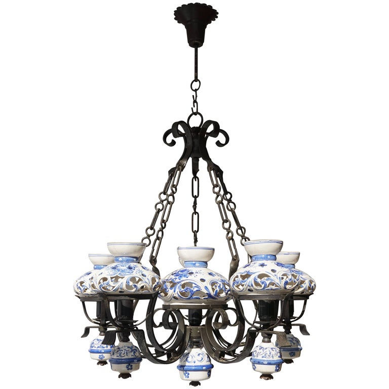 Unique And Beautiful Antique Delft Blue Oil Lamp Chandelier For