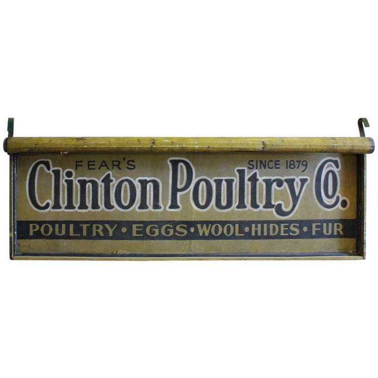 Large Antique Double Sided Light Up Clinton Poultry Co. Sign