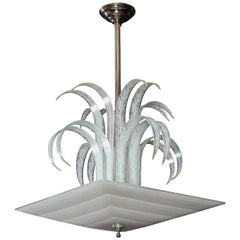 Art Deco Palm/Waterfall Square Pendant Chandelier