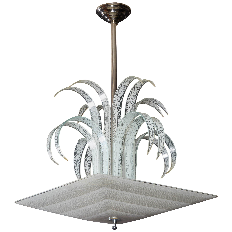 Art Deco Palm/Waterfall Square Pendant Chandelier