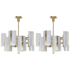 Pair or Single, Large Modernist Ten-Arm Austrian Chandelier, Kalmar
