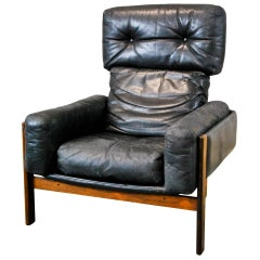 1960 Leather Rosewood Lounge Chair by Sven Ivar Dysthe for Dokka Mobler