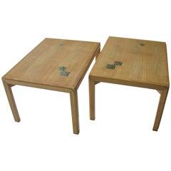 Pair of Ed Wormley for Dunbar Mahogany End Tables with Natzler Tiles