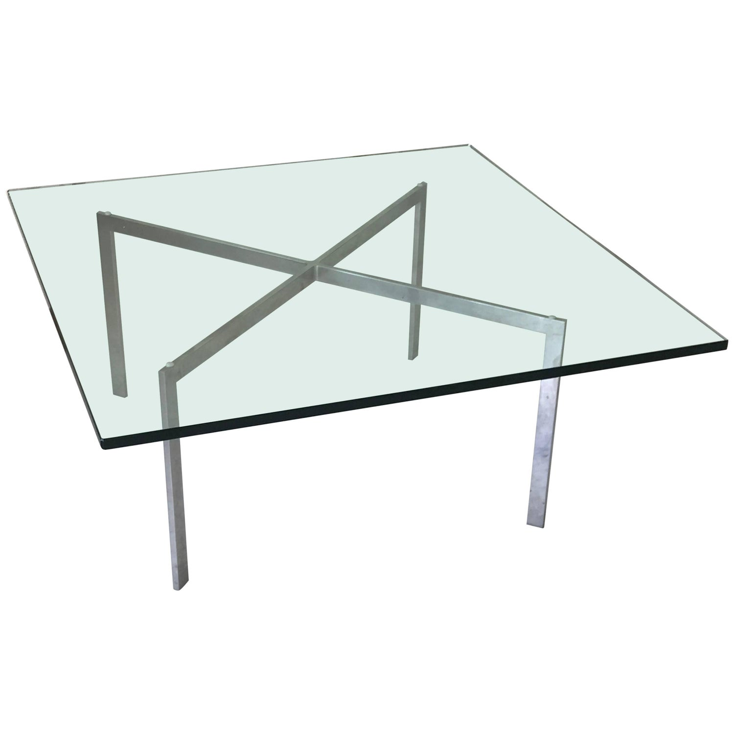 1970s Knoll Mies Van Der Rohe Barcelona Coffee Table with Glass