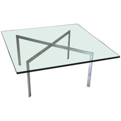 1970s Knoll Mies Van Der Rohe Barcelona Coffee Table with Glass Top