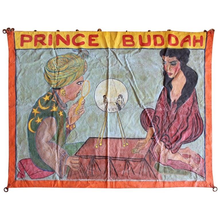 """1950s Circus Sideshow Banner """"Prince Buddah"""""""