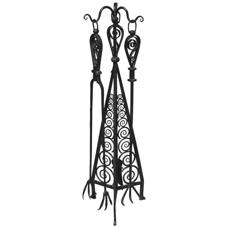 Wrought Iron Fireplace Toolset Attributed to Paul Kiss 1