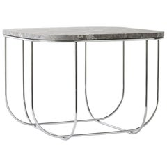 Cage Side Table by Form Us with Love, Chrome Metal Frame with Grey Marble Top