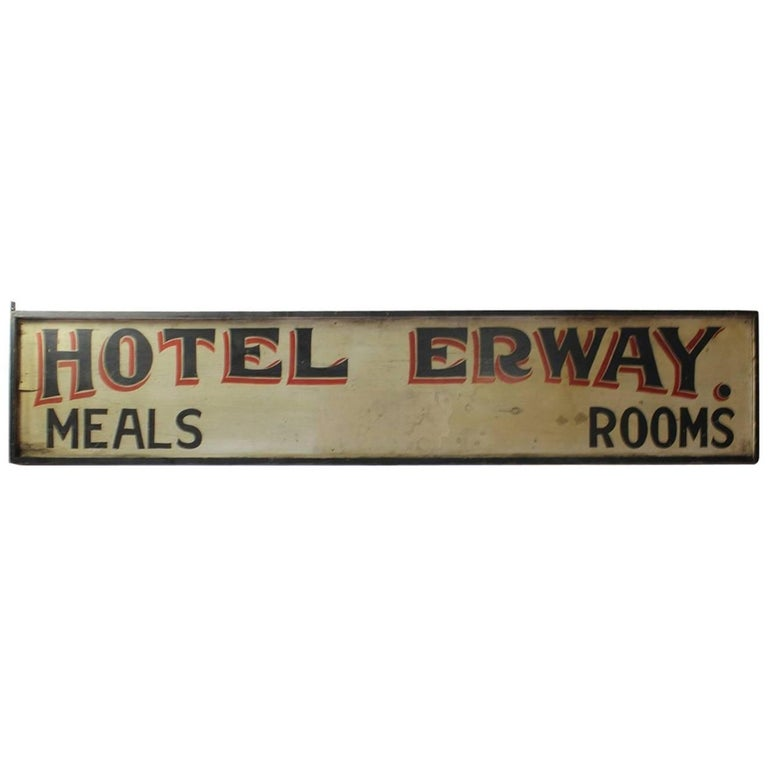 "Antique Double-Sided Hand-Painted Wood ""Hotel Erway"" Board"