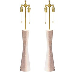 Midcentury Pair of Italian Corseted Marble Lamps
