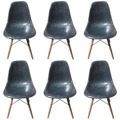 Vintage Eames Fiberglass Navy Blue Chairs