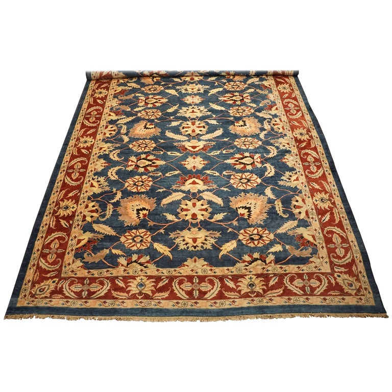 Antique Cotton Agra Rug With Abrash Circa 1900 For Sale: Oversized Vintage Sultanabad Rug With Abrash, Circa 1970
