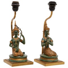 Set of Bronze Gilded Indian Goddesses Table Lamps