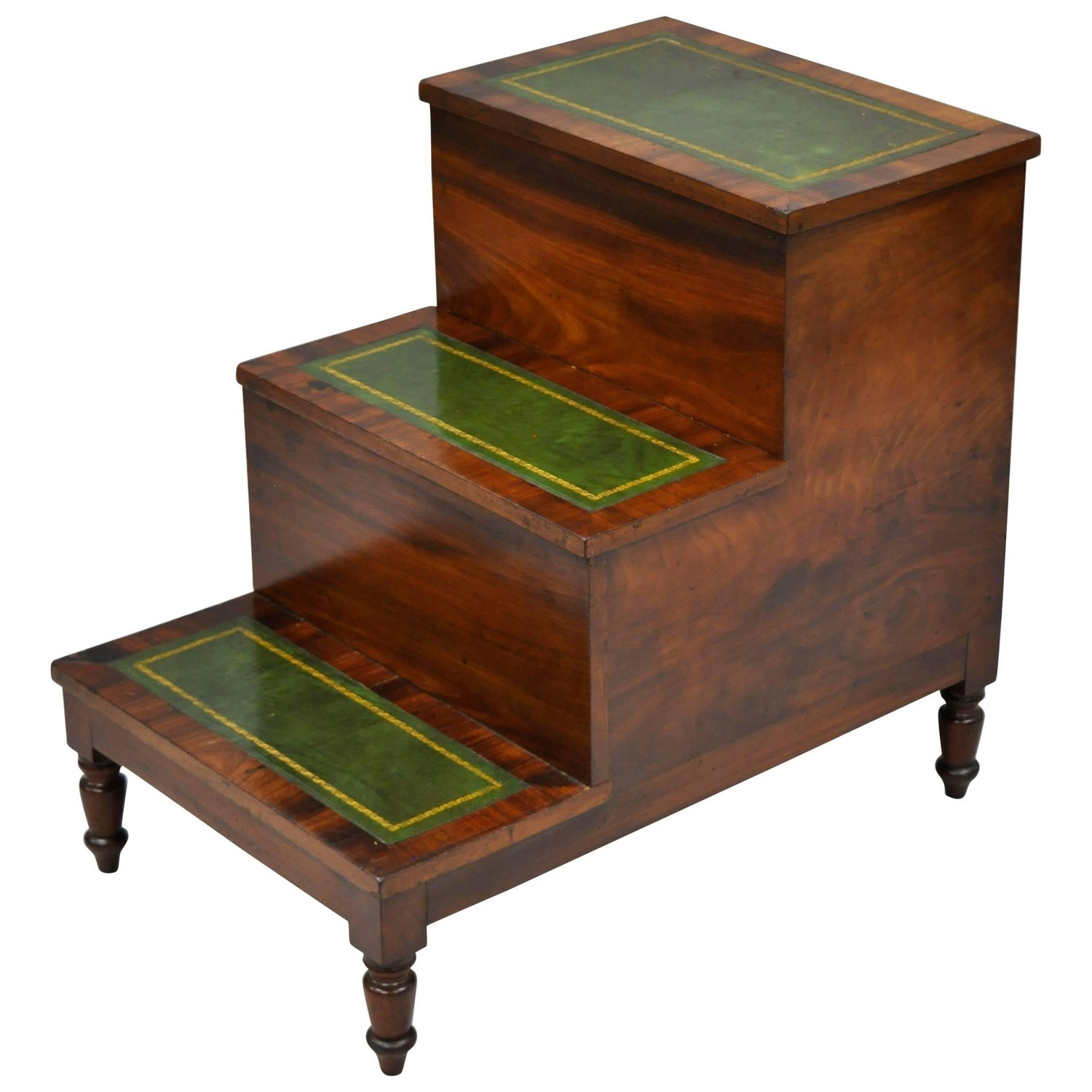 Antique English Regency Bed Step Table Flip Top Green Leather Crotch Mahogany