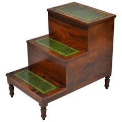 Antique English Regency Mahogany Green Leather Bed Steps Library Side Table