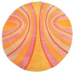 1970s V'Soske Studios Psychedelic Pop Art Rug in Manner of Verner Panton