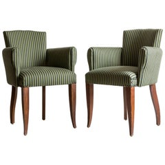 Pair of Captain Pull Up Chairs from Italy Upholstered in Howe Striped Fabric