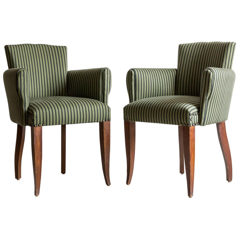 Pair of Captain Pull Up Chairs from Italy Upholstered in Howe Striped Fabric For Sale