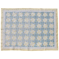 Yellow Sateen Stars Quilt with Blue Calico Ground