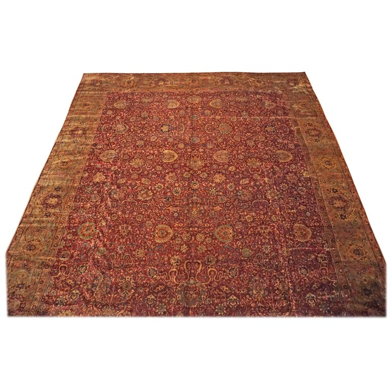 Antique Cotton Agra Rug With Abrash Circa 1900 For Sale: Burgundy Antique Indian Wool Rug, Circa 1900 For Sale At