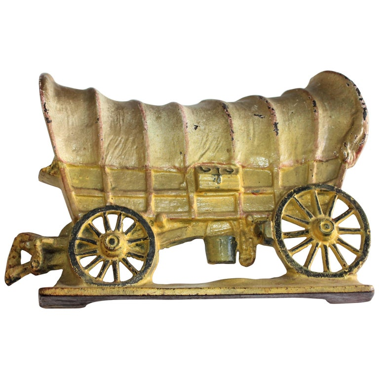 Iron Stage Coach in Original Painted Surface Doorstop