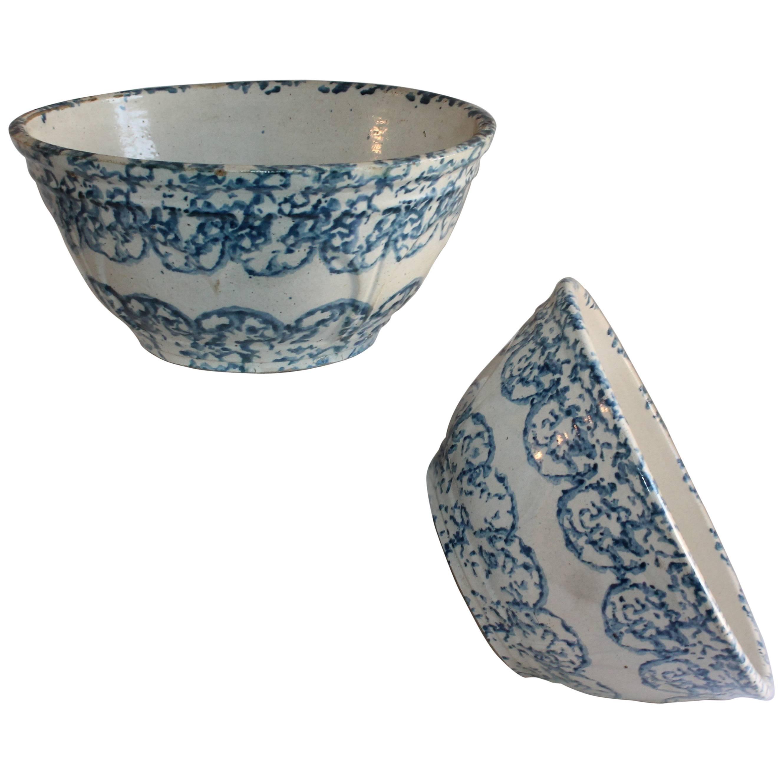 19th Century Spongeware Large Mixing Bowls