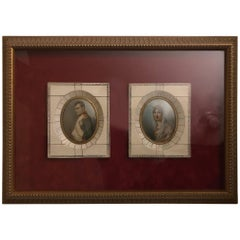 Museum Framed Pair of Miniature Portraits of Napoleon and Josephine, 1840s