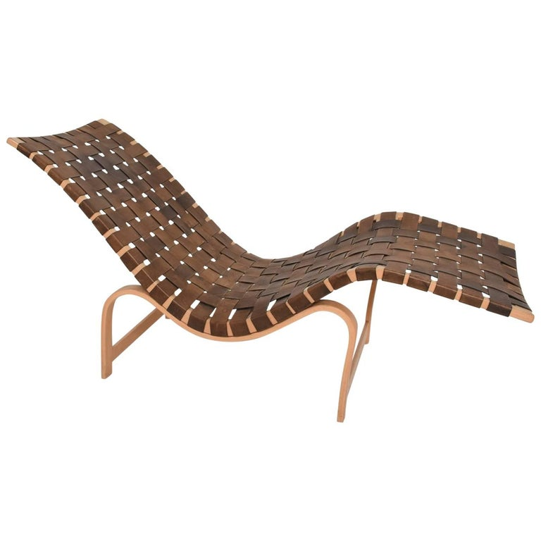 Danish Modern Chaise Longue by Bruno Mathsson Leather and Birch