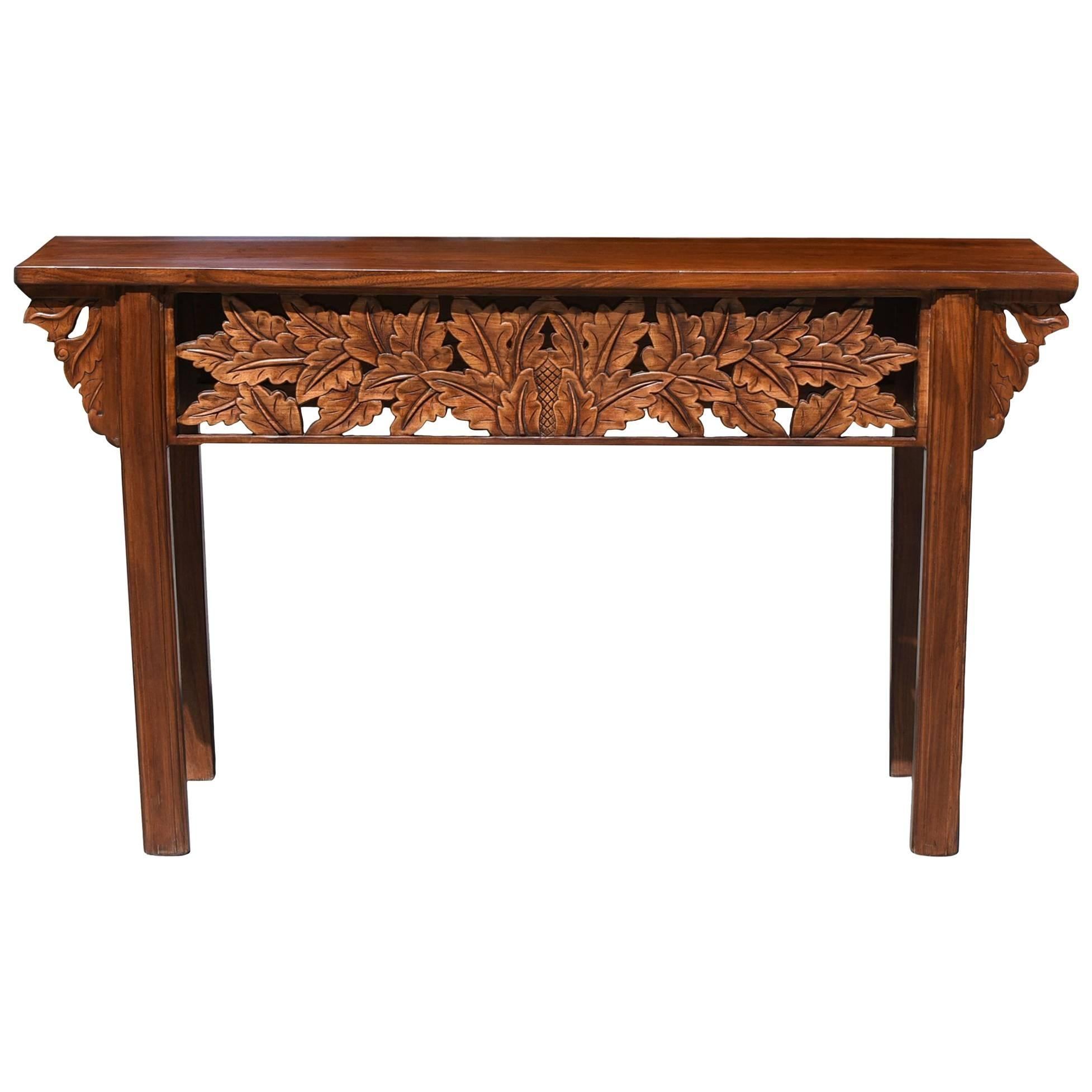 Asian Console Table with Foliage Carvings Hand Carved For Sale at