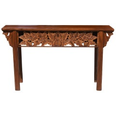 Asian Console Table with Foliage Carvings, Hand Carved