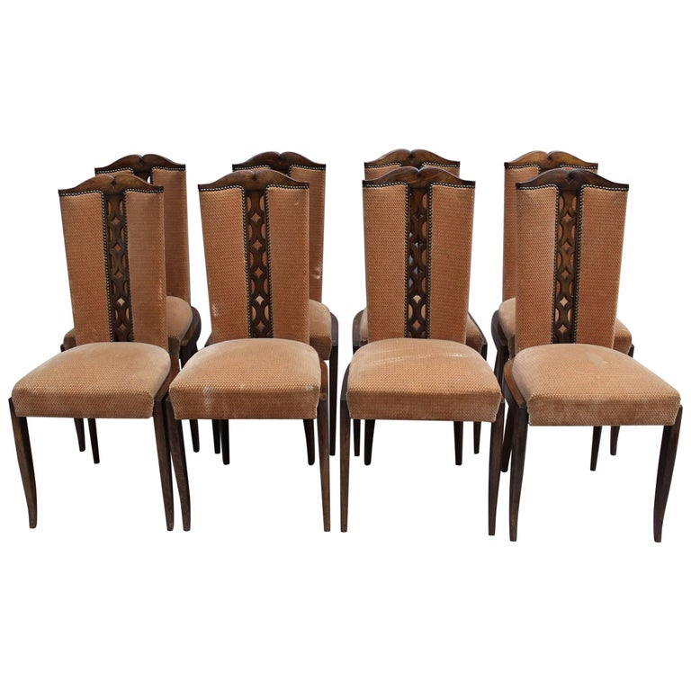 Set of Eight Fine French Art Deco Dining Chairs For Sale