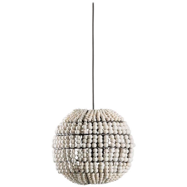 Klaylife Sphere, White Handmade Clay Beaded Pendant Light, 21st Century