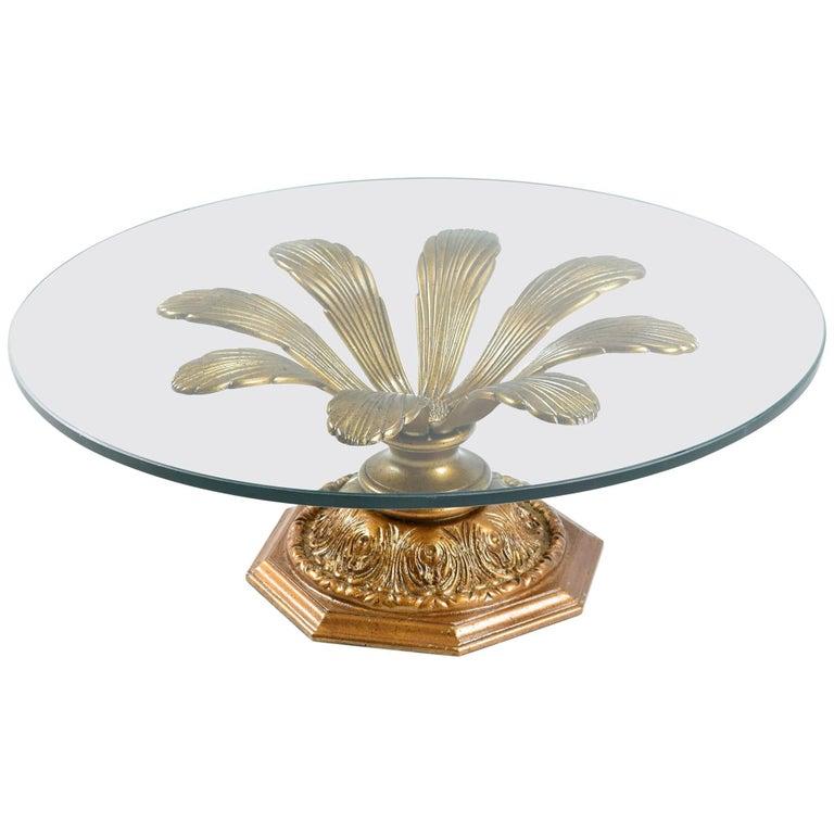 Hollywood Regency Gilded Metal Blossoming Flower Petal Coffee Table