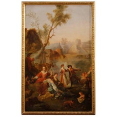 19th Century Popular Scene Oil Painting