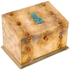 19th Century French Brass and Coral Cabochon Stationery Casket
