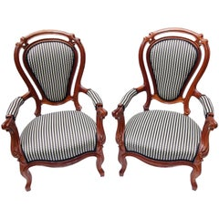 19th Century Louis Philippe Armchair, Set of Two, Mahogany