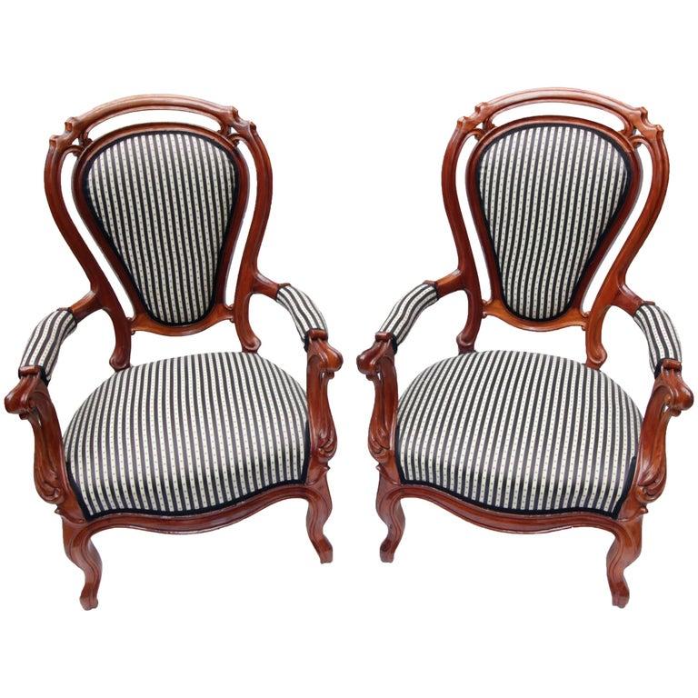 19. Jahrhundert Louis Philippe Armchair, Set aus zwei, Mahagoni 1