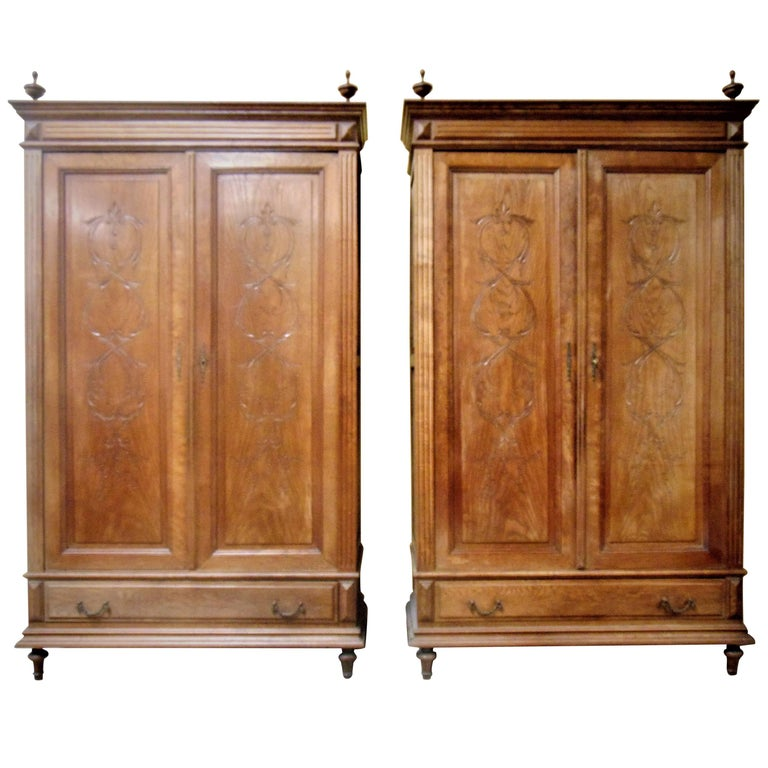 Armoire Matching Pair Of Oak Circa 1900 For