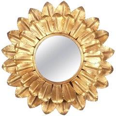 Large Round Gold Leaf Sunburst Backlit Mirror, France 1960