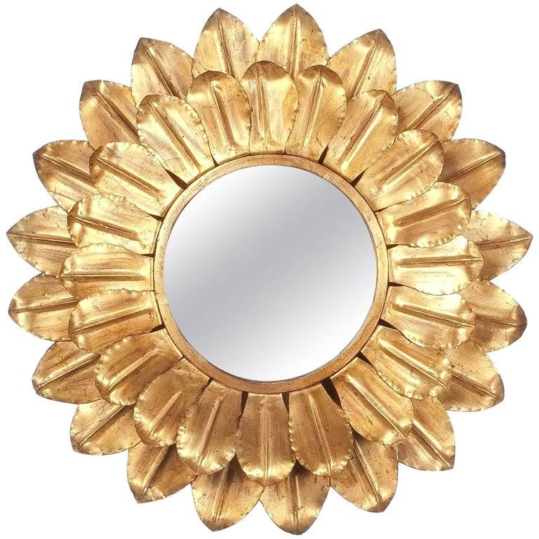 Large round gold leaf sunburst backlit mirror france 1960 for Large round gold mirror